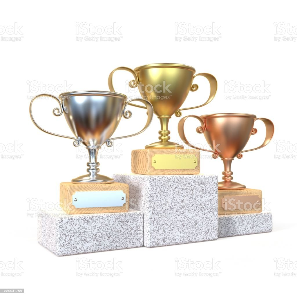 Gold, silver and bronze winners trophy cups 3D stock photo