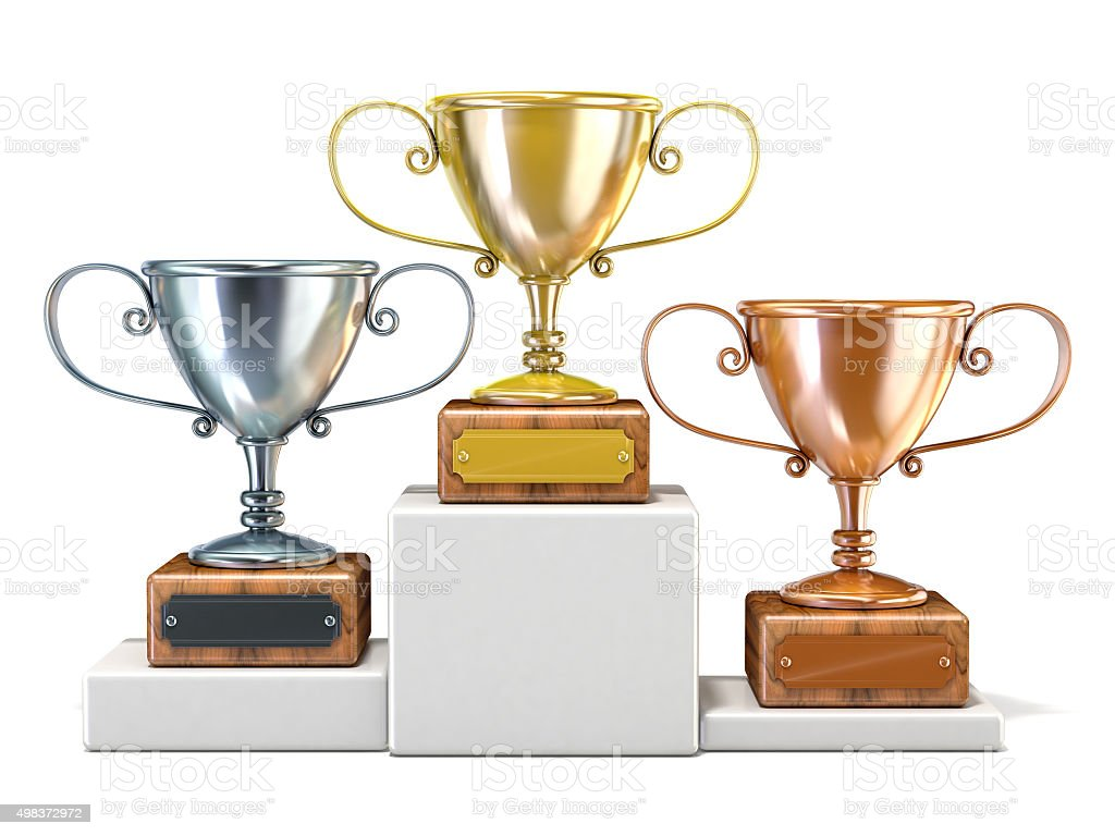 Gold, silver and bronze winners trophy cups. 3D render stock photo