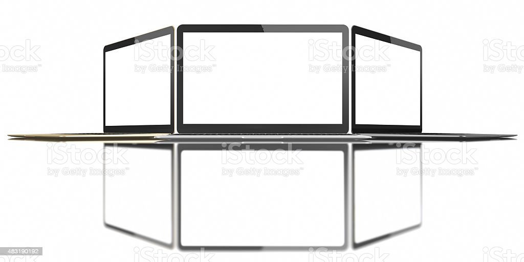 Gold, Silver and Space Gray Laptop with blank screen stock photo