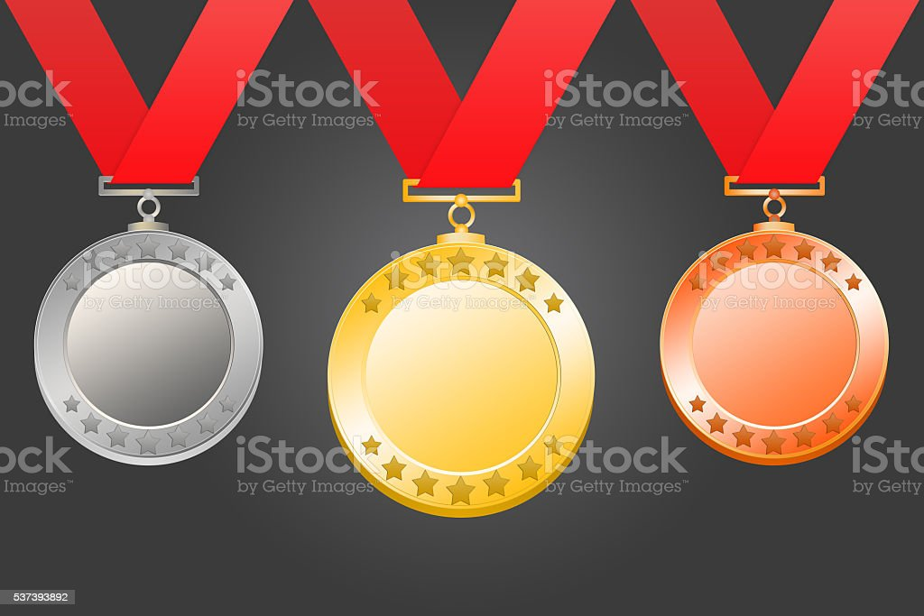 Gold, silver, bronze medal stock photo