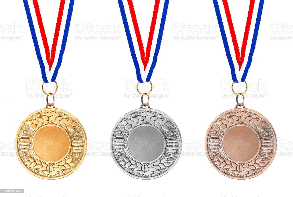 Gold silver bronze medals royalty-free stock photo