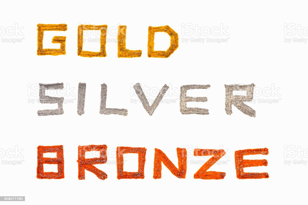 gold silver bronze stock photo