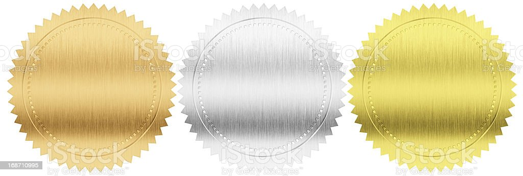 gold, silver, bronze seals or medals isolated with clipping path stock photo