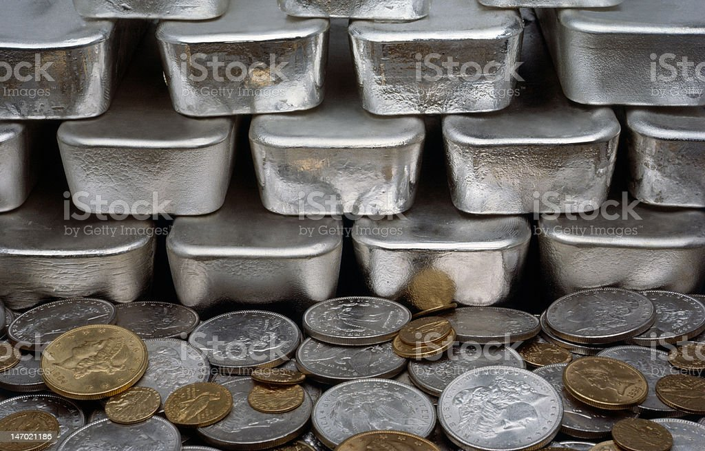 Gold & Silver Coins With Bars stock photo
