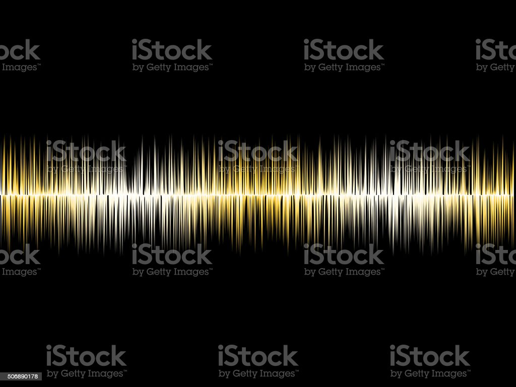 Gold Silver Soundwave with Black Background stock photo