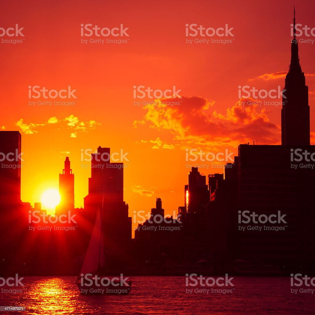 Gold skyline of Manhattan with Empire in the background royalty-free stock photo