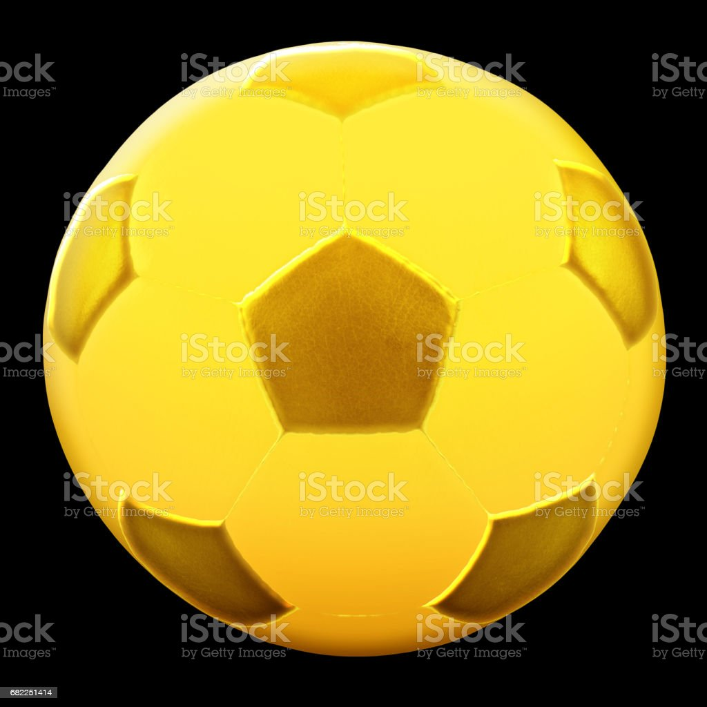 Gold Soccer Ball isolated gaianst the black background stock photo