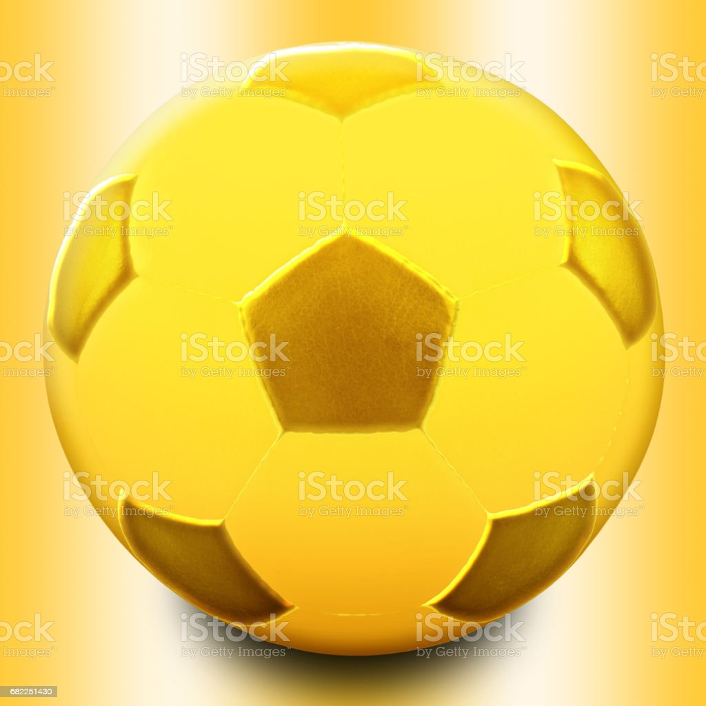 Gold Soccer Ball isolated gaianst the gold background stock photo
