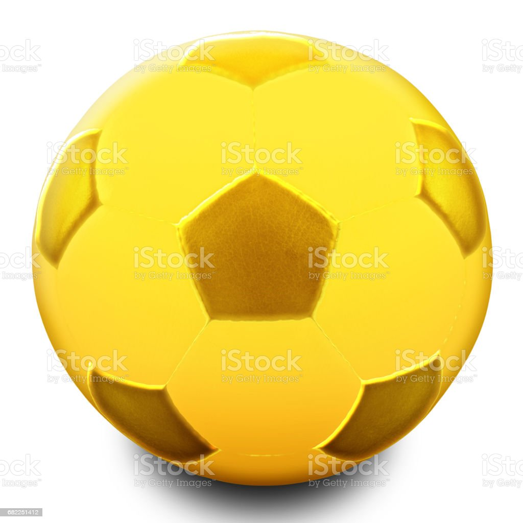 Gold Soccer Ball isolated gaianst the white background stock photo
