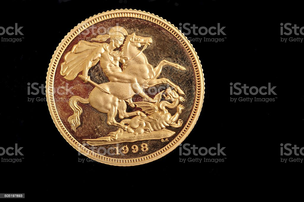 Gold Sovereign Coin royalty-free stock photo
