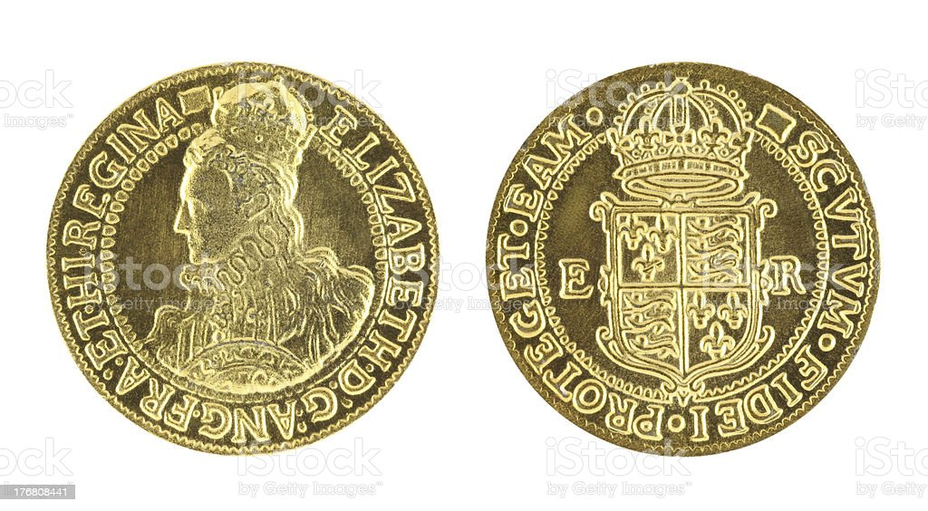 Gold sovereign from Elizabeth's the first era stock photo
