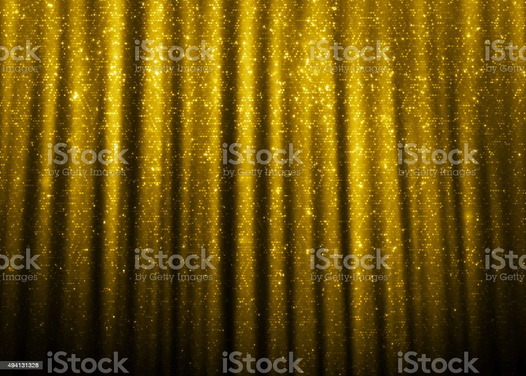 Gold sparkle glitter curtains stock photo