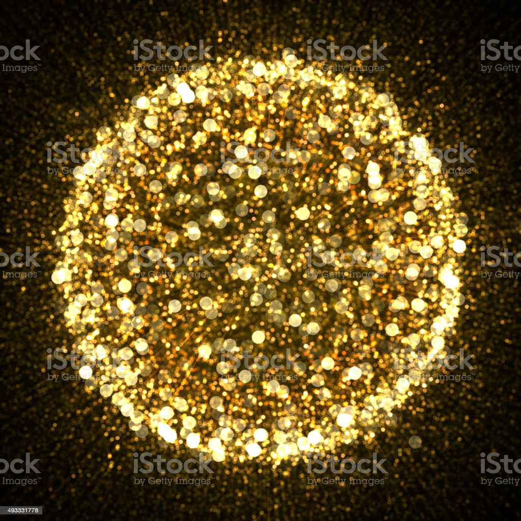 Gold sparkle glitter explosion background stock photo