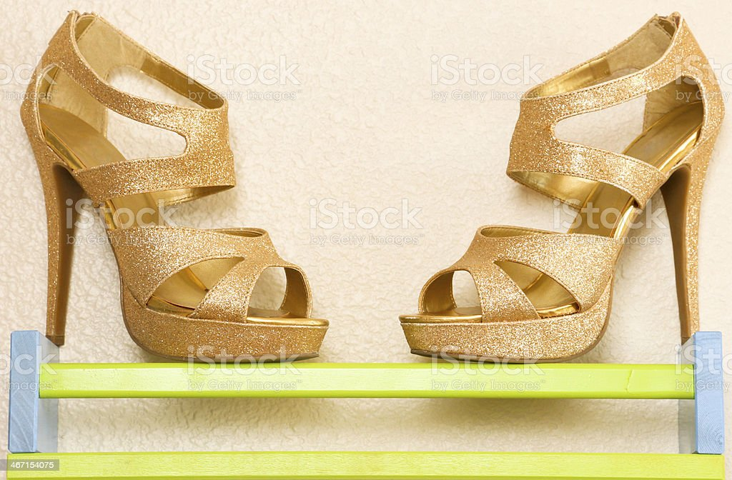 Gold Sparkle High Heels stock photo