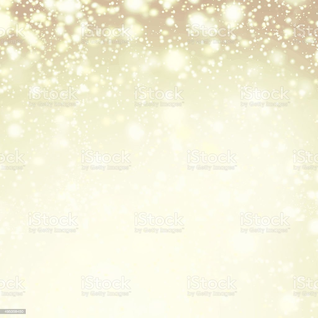 Gold sparkles - Christmas Defocused Lights Background with winte stock photo