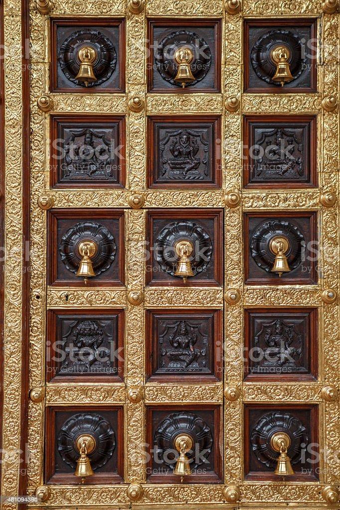 Gold Sri Veeramakaliamman Temple Door, Little India, Singapore stock photo
