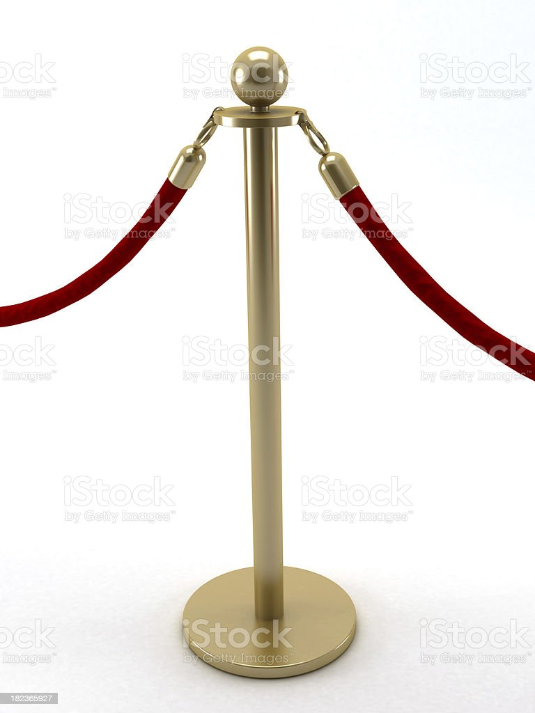 Gold stanchion post stock photo