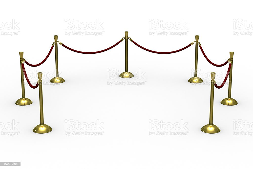 Gold stanchions on white background. Isolated 3D image royalty-free stock photo