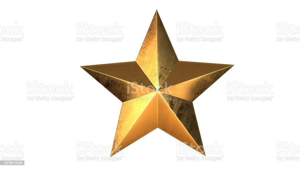 Gold Star, 3D illustration royalty-free stock photo
