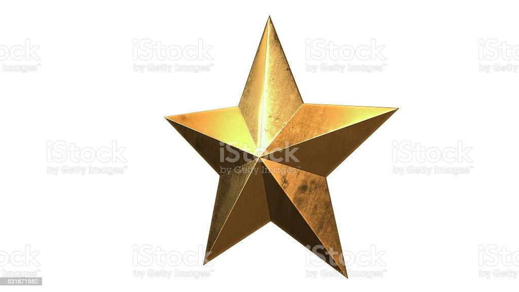Gold Star, 3D illustration royalty-free stock photo