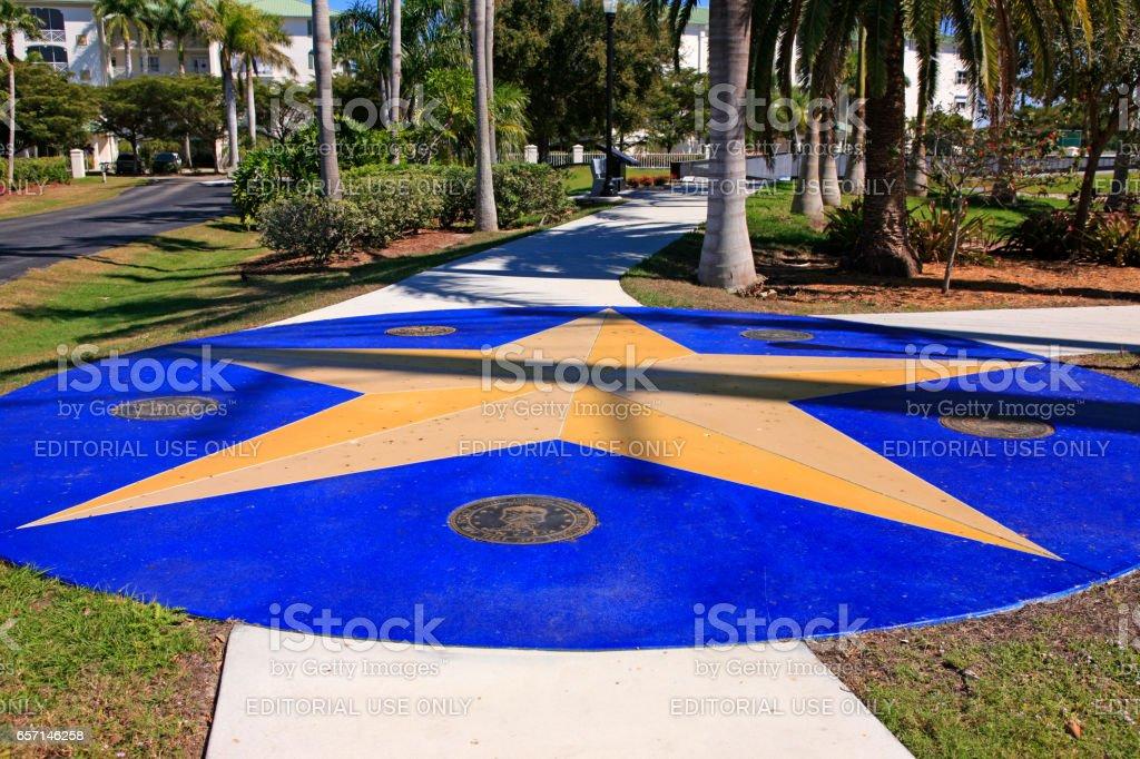 Gold Star entrance to the Veteran's Memorial Park in Punta Gorda, Florida. stock photo