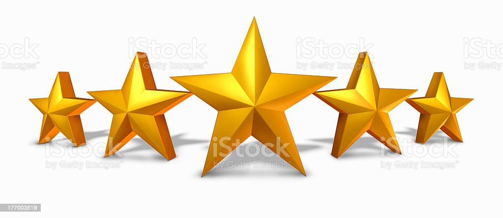 Gold star rating with five golden stars stock photo