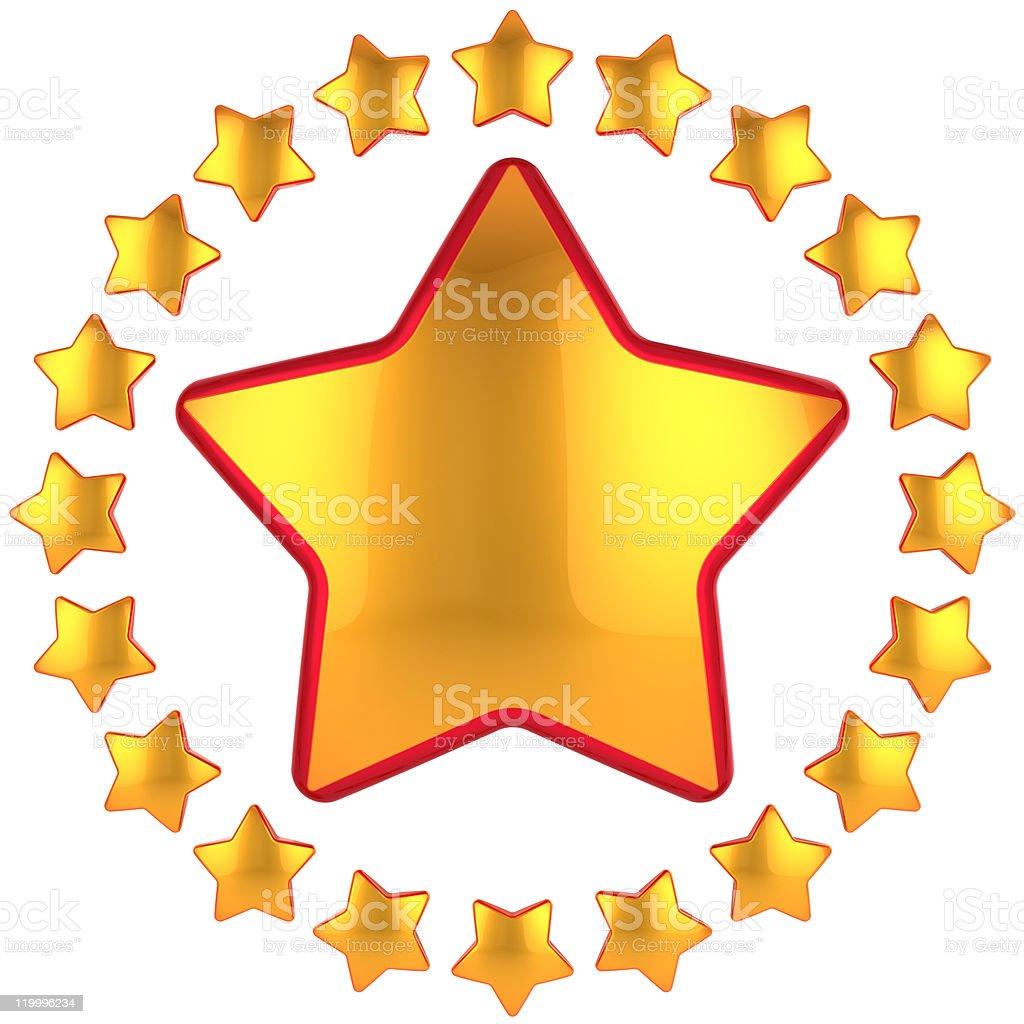 Gold star shape design element. High quality leadership symbol royalty-free stock photo