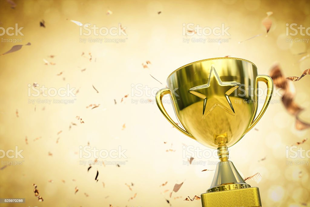 gold star trophy stock photo