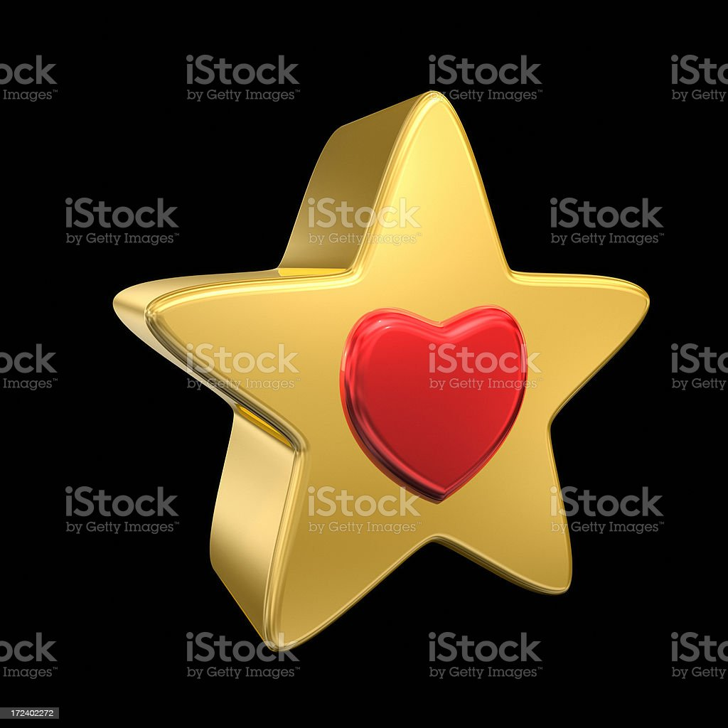 Gold Star with Red Heart XL royalty-free stock photo