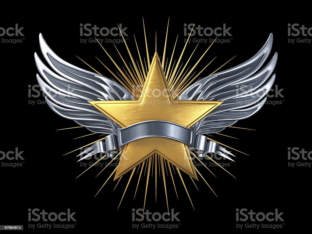 Gold star with silver wings and ribbon royalty-free stock photo