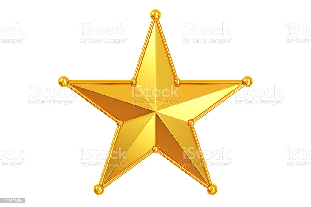 Gold Star with Stick & bead Frame stock photo
