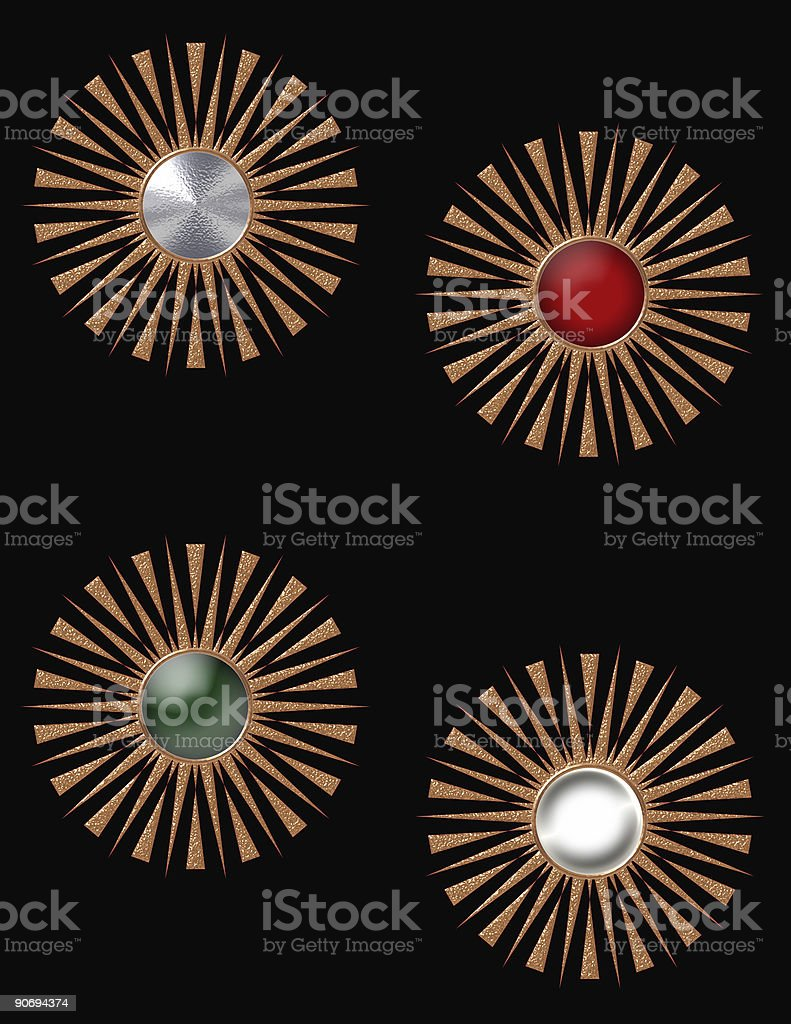 Gold Starbursts stock photo