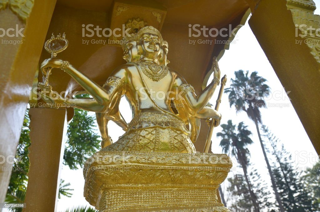 Gold statue of Brahma stock photo