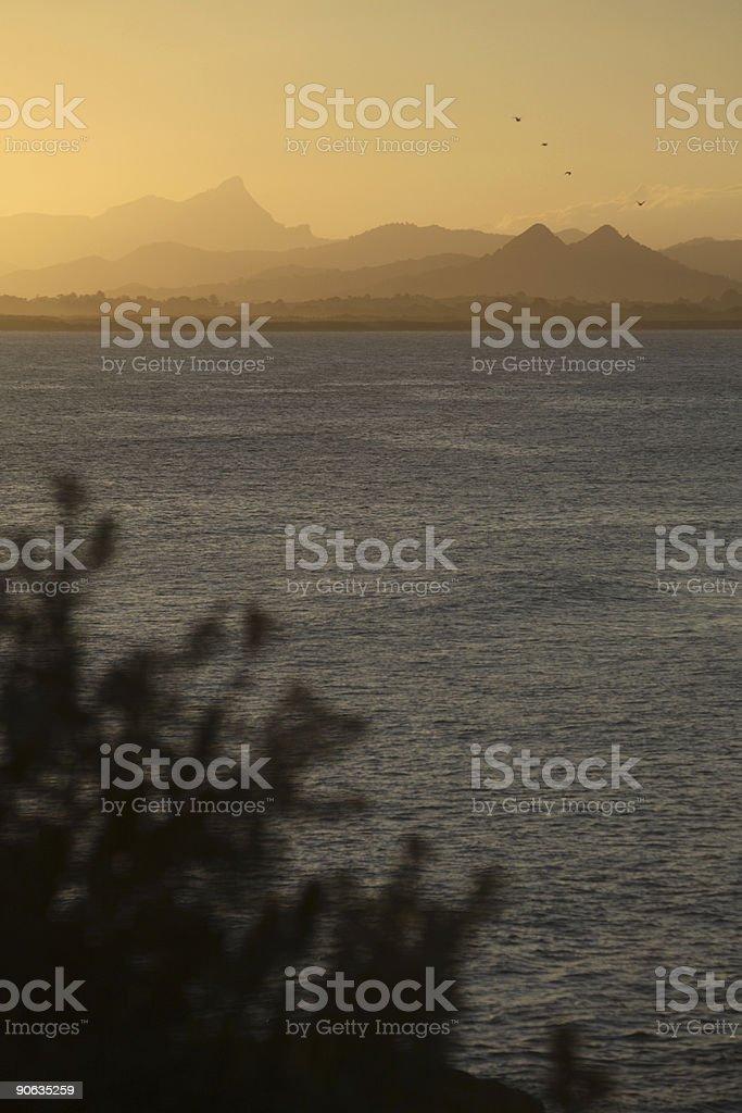 Gold Sunset Mountains stock photo