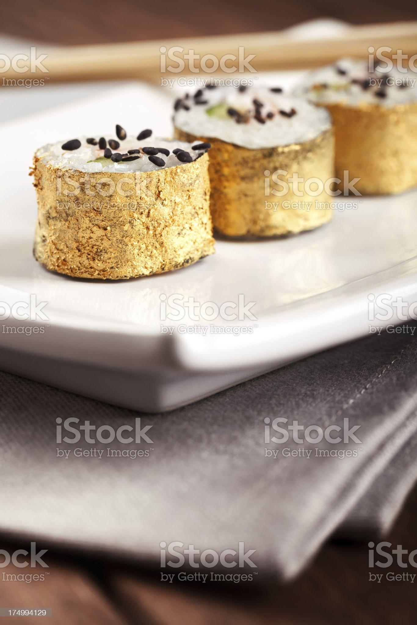 Gold Sushi royalty-free stock photo