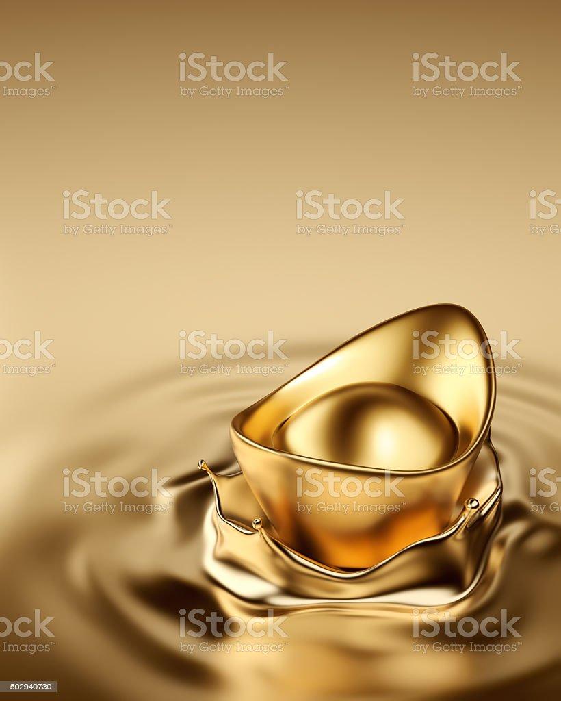 Gold Sycee - Yuanbao stock photo