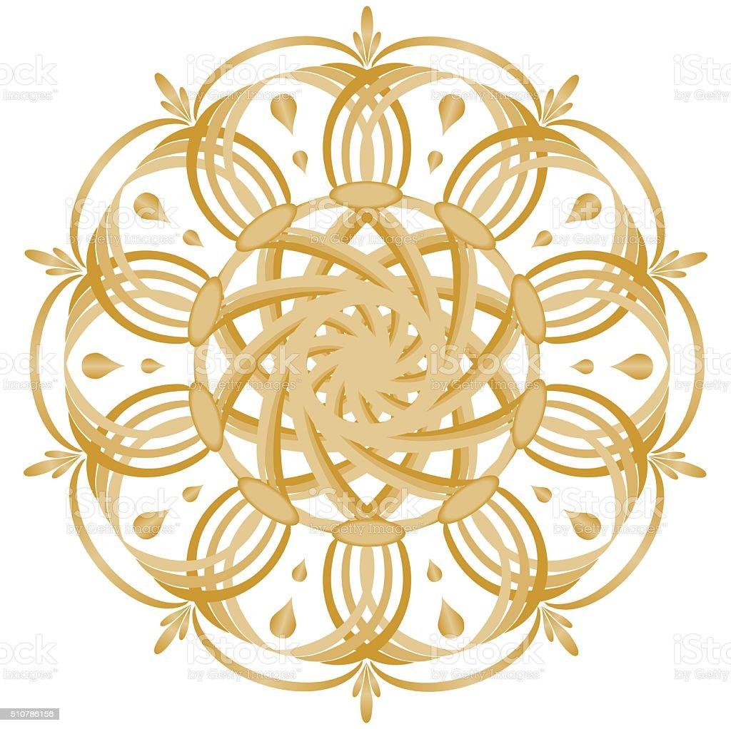 Gold symmetrical geometric star stock photo