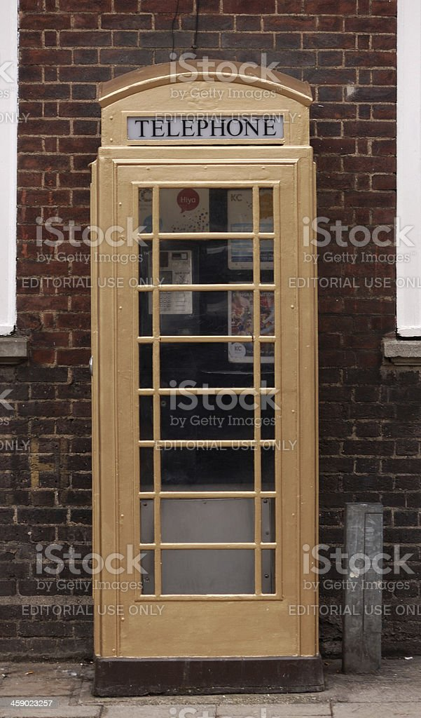 Gold Telephone Box in Hull royalty-free stock photo