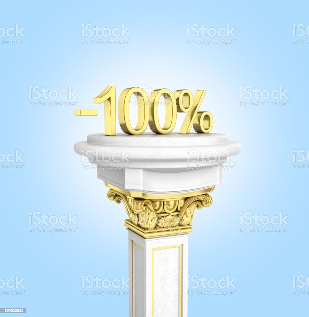 Gold text 100 percent off standing on the pedestal isolated on blue gradient background 3D render stock photo