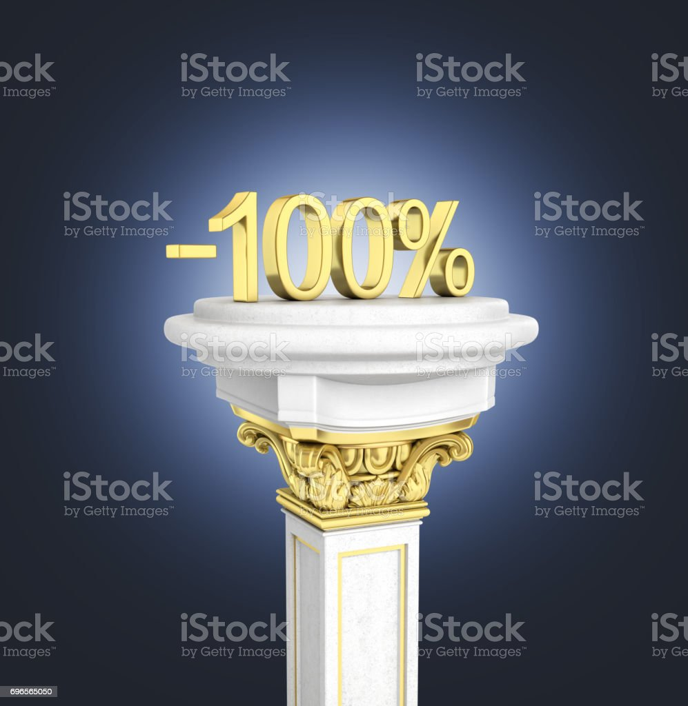 Gold text 100 percent off standing on the pedestal isolated on dark blue gradient background 3D render stock photo