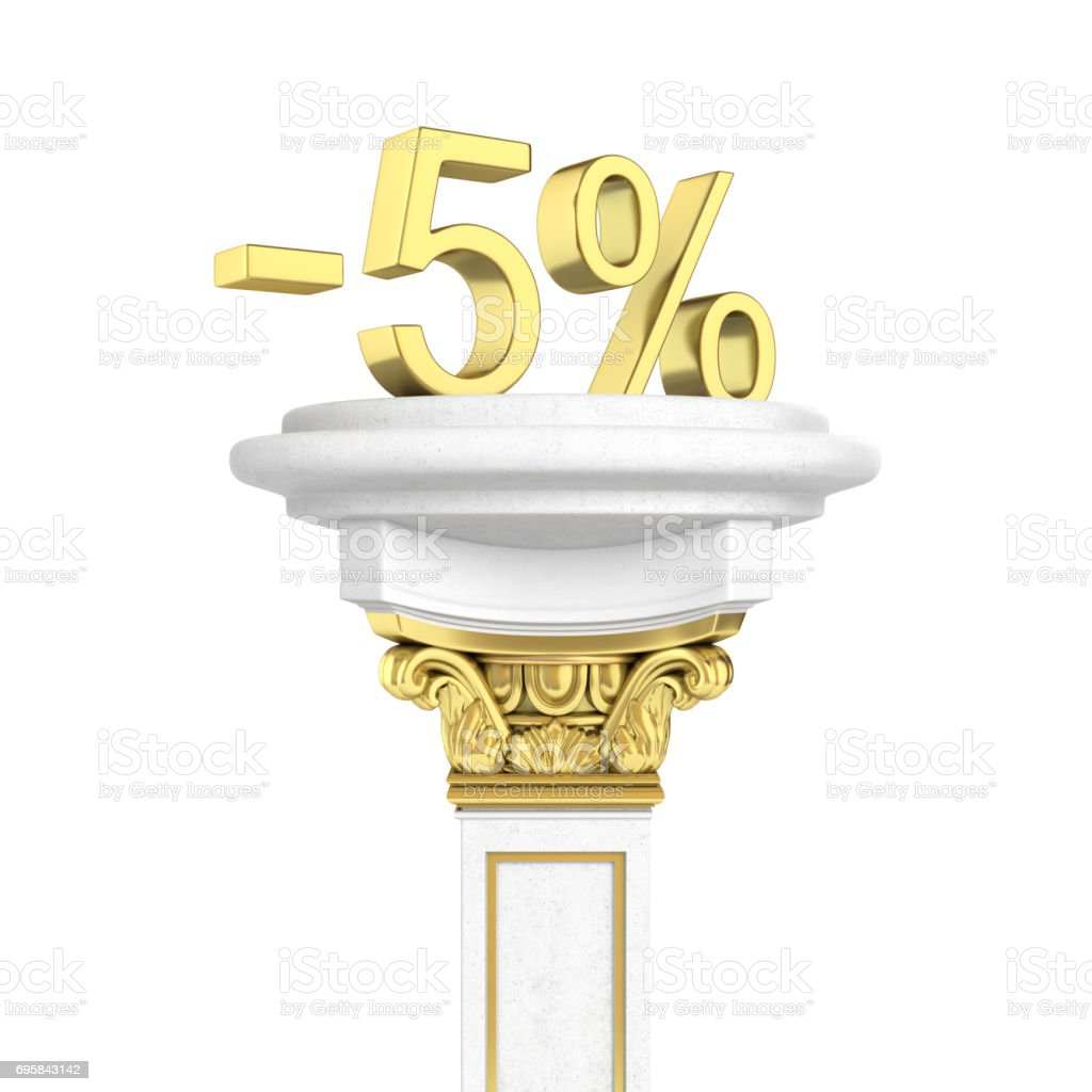 Gold text 5 percent off standing on the pedestal isolated on white background 3D render stock photo