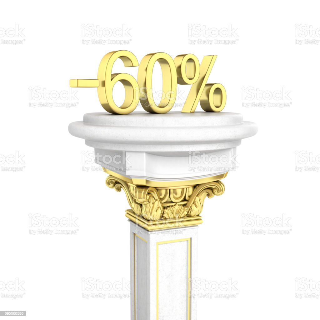 Gold text 60 percent off standing on the pedestal isolated on white background 3D render stock photo