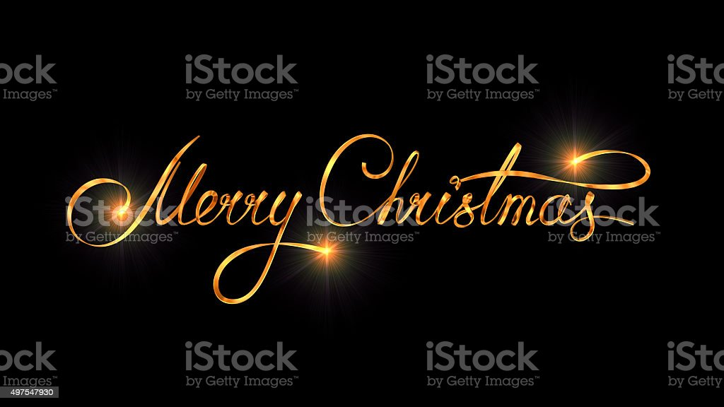 Gold Text Design Of Merry Christmas On Black Color Background stock photo