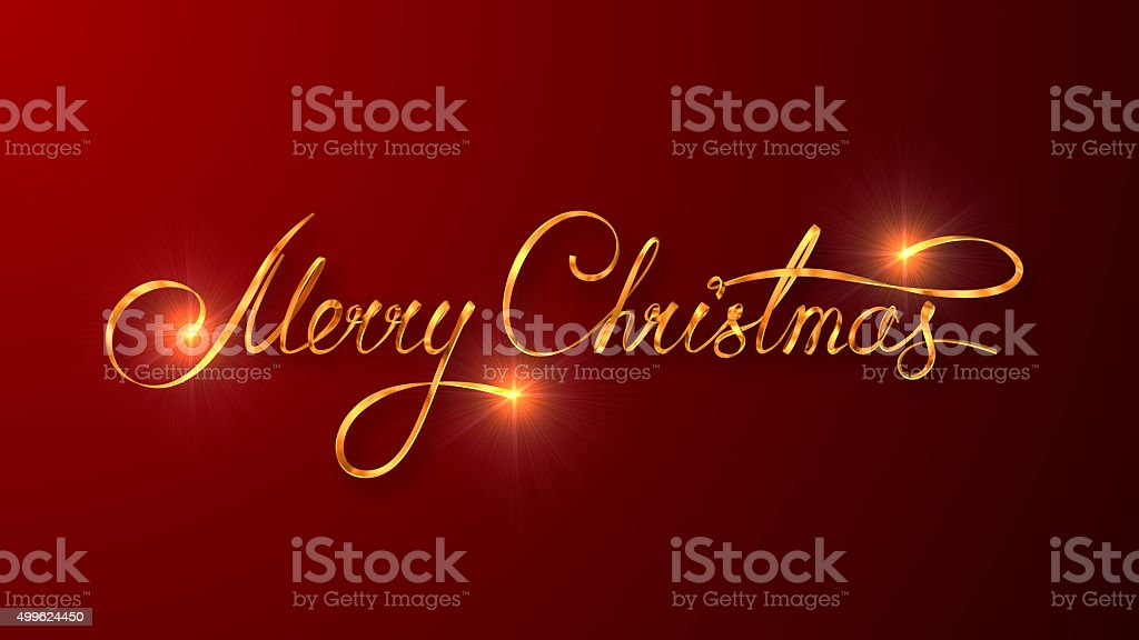 Gold Text Design Of Merry Christmas On Red Color Background stock photo