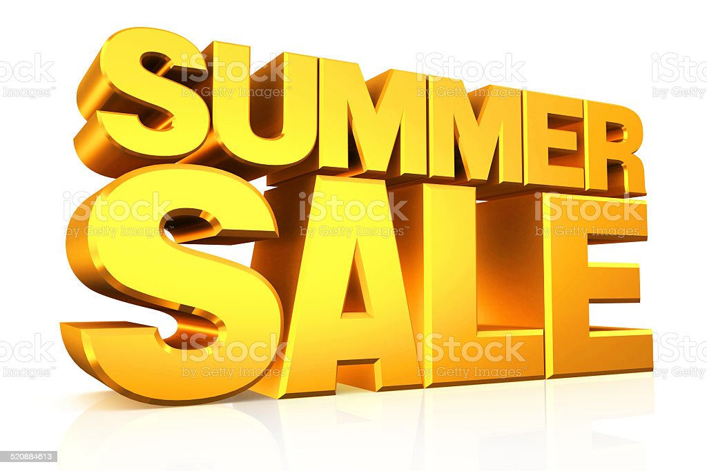 3D gold text summer sale. stock photo