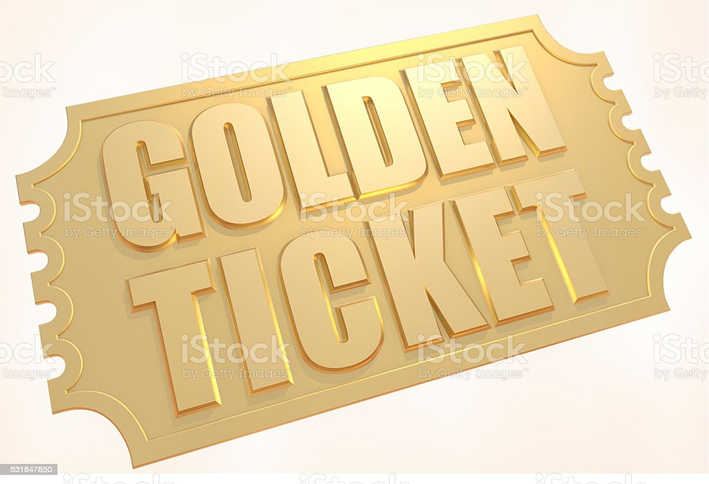 Gold Ticket stock photo