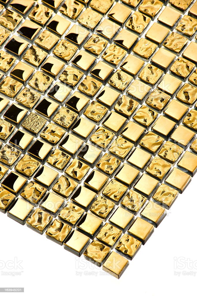 Gold tile mosaic background royalty-free stock photo