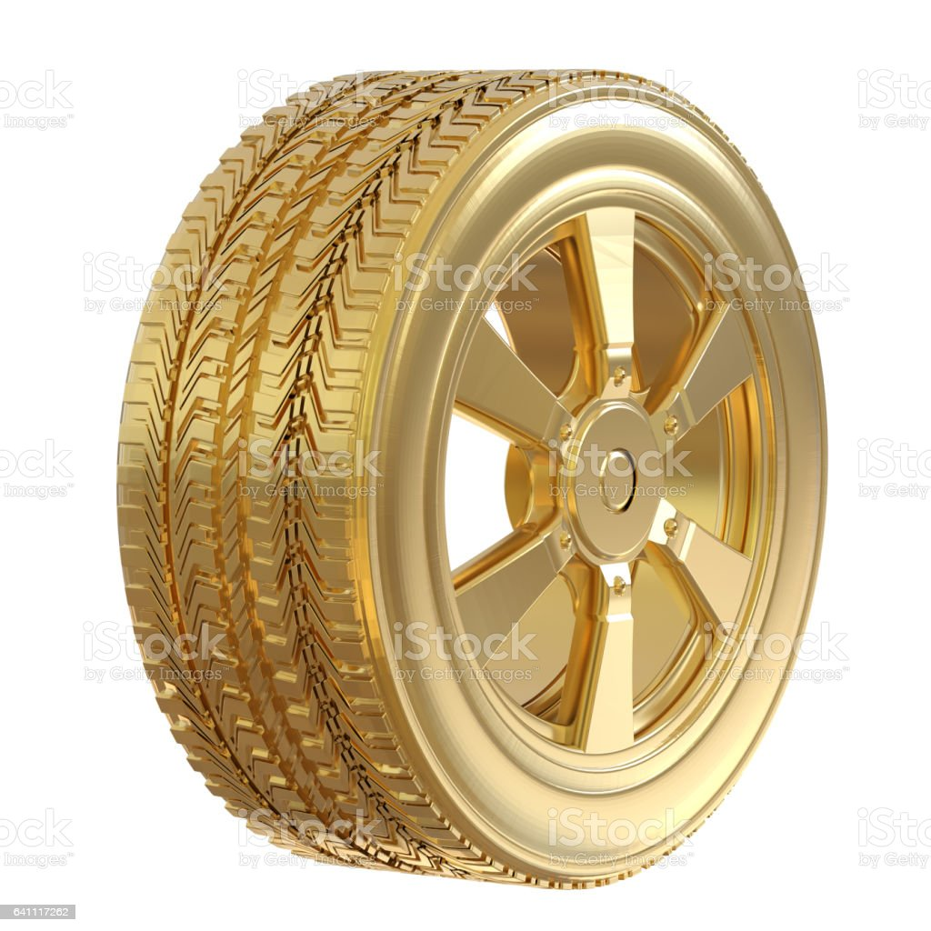gold tire with gold wheel stock photo