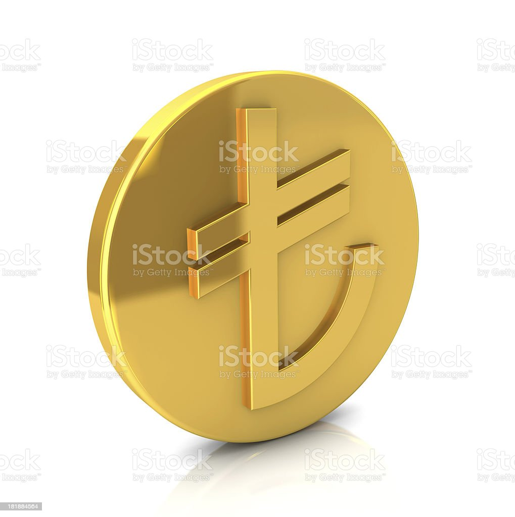 Gold TL Coin stock photo