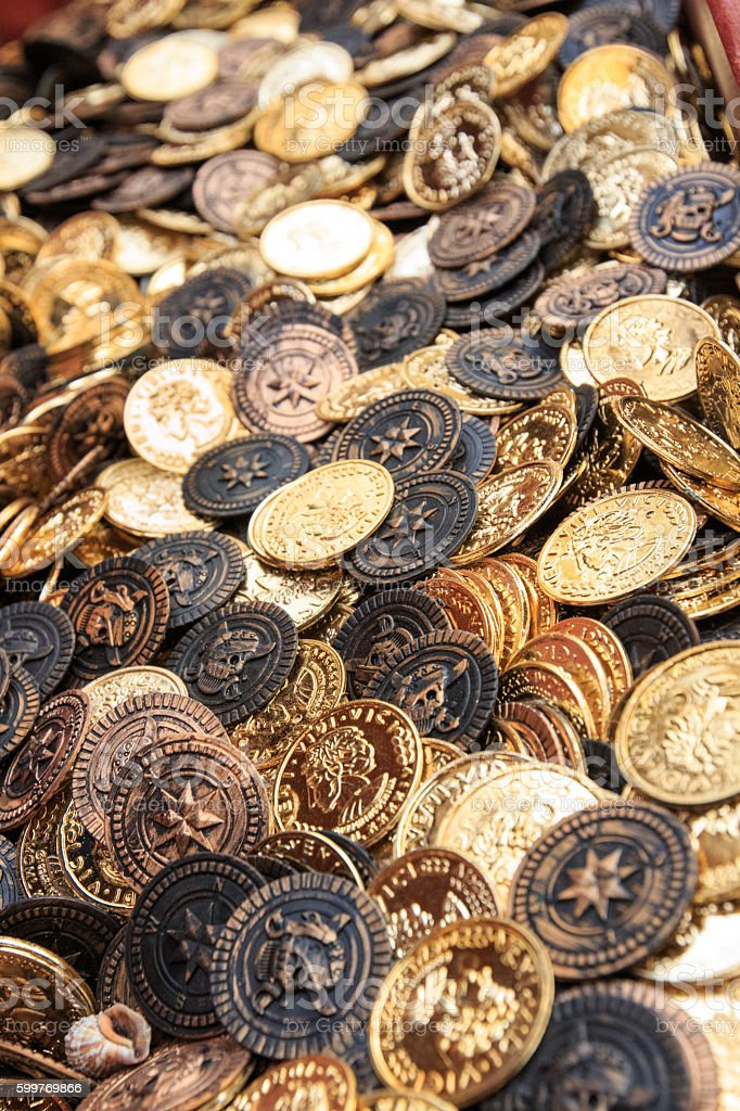 Gold Tokens stock photo